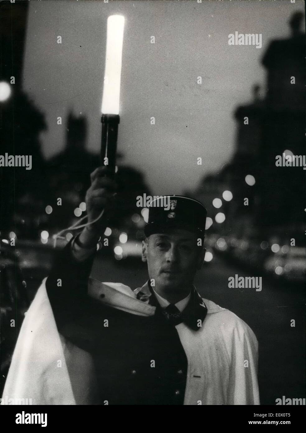 Oct. 10, 1964 - Luminous Baton For Paris Traffic Policemen. Photo shows A Paris Traffic Policeman Equipped With The New Luminous Baton For Night Duty. - Stock Image