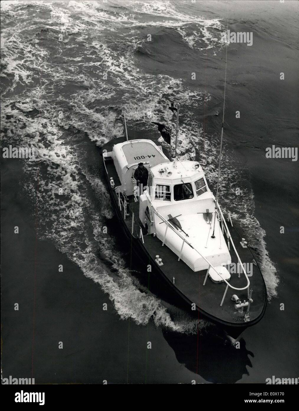 Dec. 08, 1964 - 44 ft. Steel Life-Boat From U.S. On View At Westminster Pier: A new style 44 ft. steel life-boat obtained by the Royal National Life-Boat Institution from the United States Coast Guard for the purpose of extensive trials in order to decide whether to build life-boats of this type for service off the coasts of Britain and Ireland. The trials began off Littlehampton in May 1964 - since when she has toured the coast of Britain and Ireland visiting 56 life-boat stations - and covering 4,500 miles. The craft has two diesel engines each producing 200 shaft h.p - Stock Image