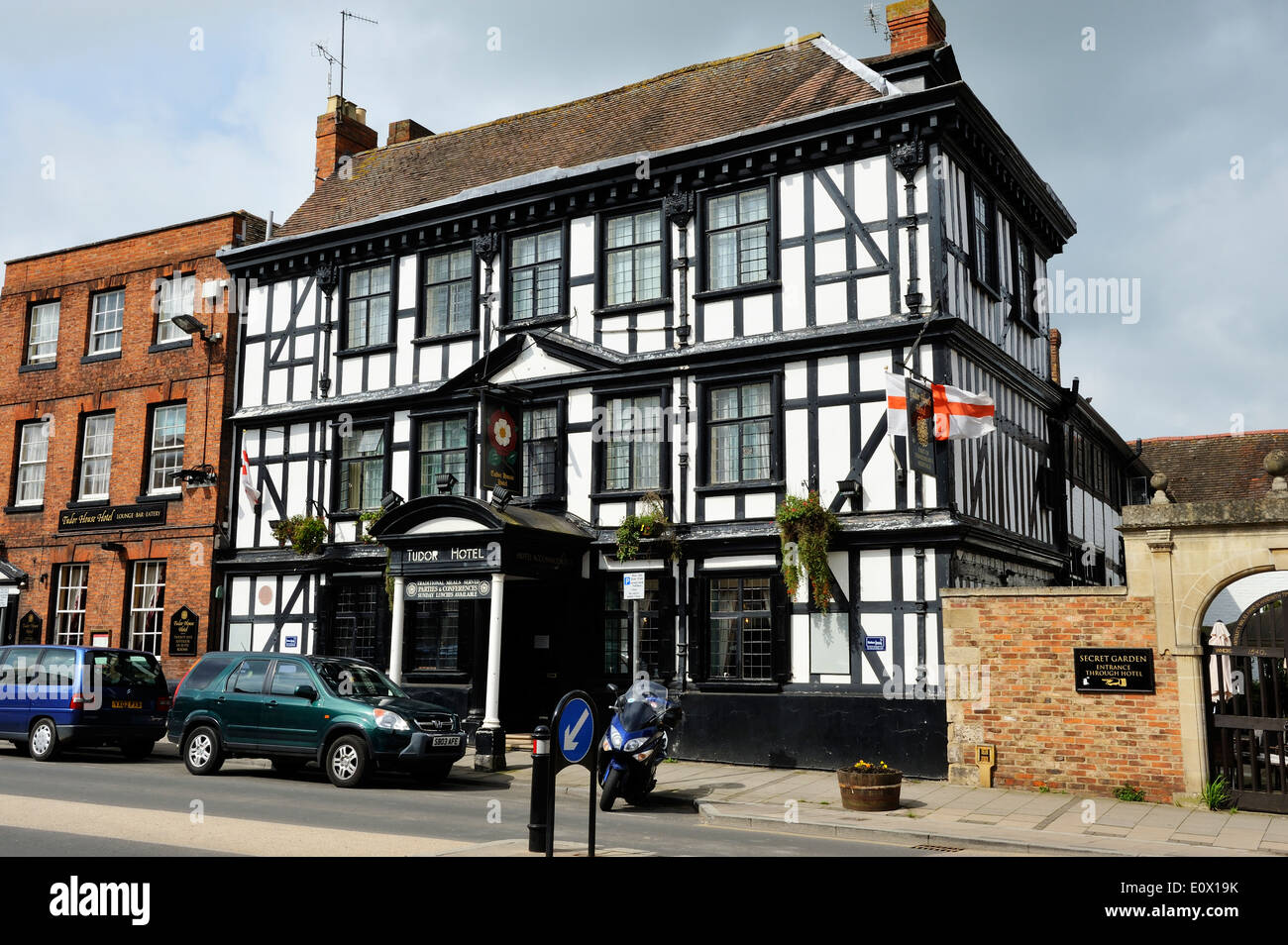 The Tudor House Hotel on the High Street in Tewkesbury, Gloucestershire, England - Stock Image