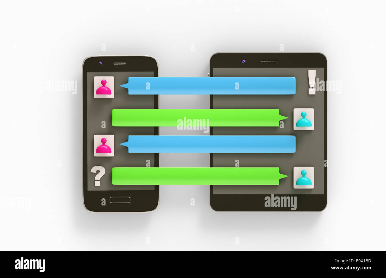 a message log connecting two devices Stock Photo: 69413329