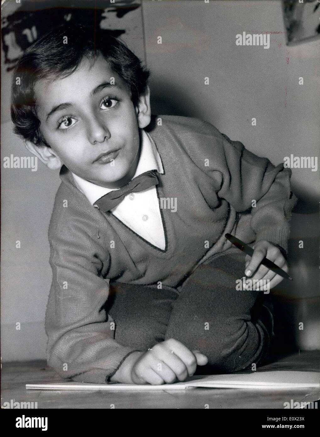 Nov. 11, 1964 - Bedri Baykam the 7 year old Turkish Wonder boy artist holds a press conference: Bedri Baykam, the seven year old Turkish Artist prodigy who has been called the 'Mozart of Art' arrived in London yesterday to give a one Boy Art Show at the Turkish Tourism Information Office at 49, Conduit St. w.l. it opens on Monday for two weeks. He started to draw at the age of two and he has now turned out 1,000 water colours and ,000 drawings and he can do them with either hand. He has also given shows in Paris, Vienna, Geneva and Bern - Stock Image