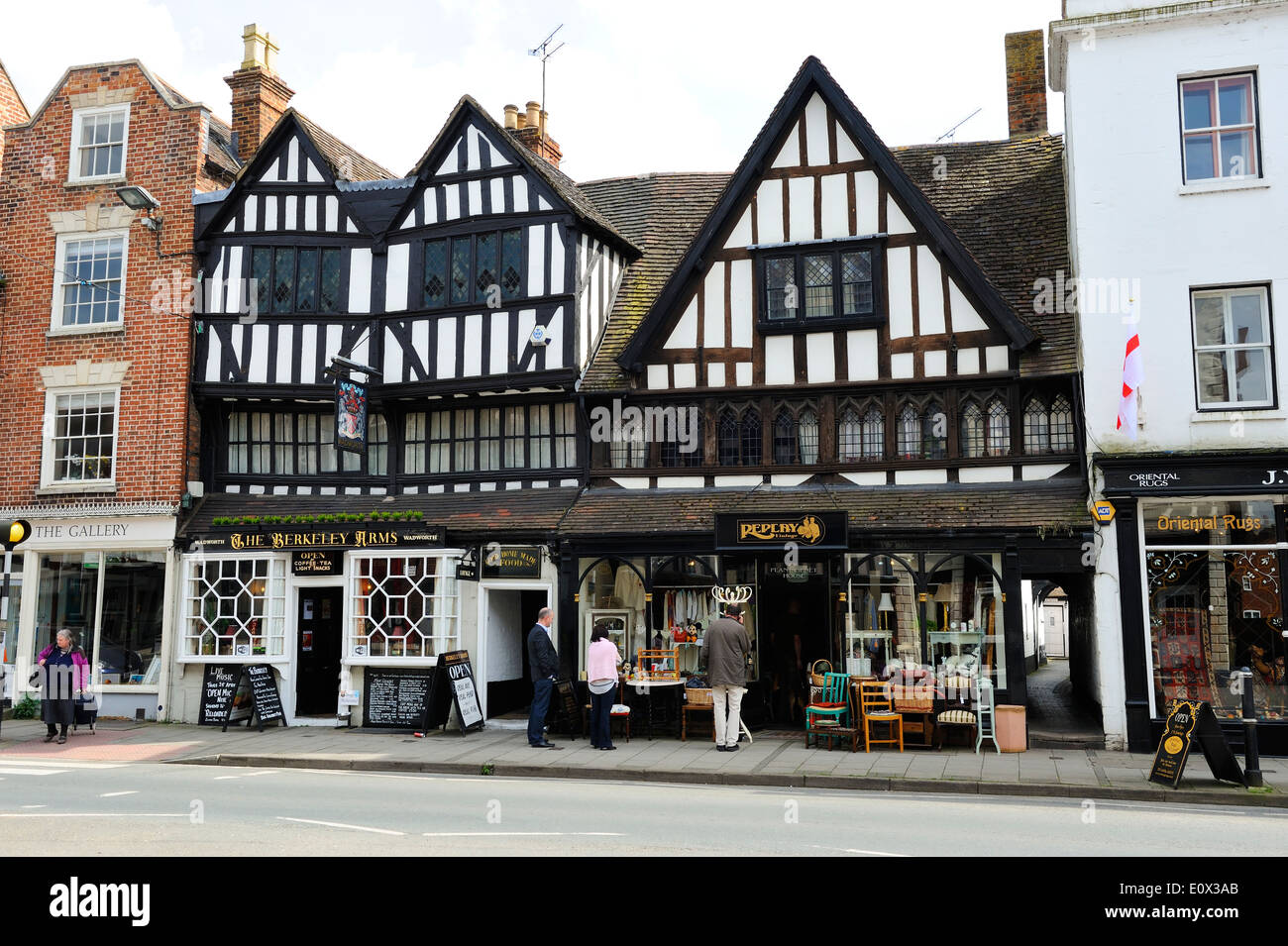 The Berkeley Arms public house on Church Street in Tewkesbury, Gloucestershire, England - Stock Image