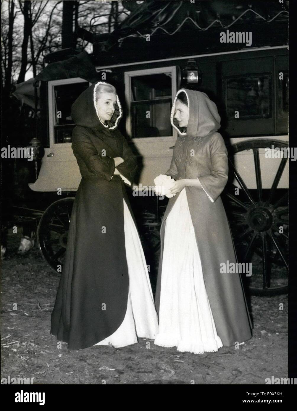 Mar. 03, 1965 - New Screen Version of ''The Two Oprhans'': A new screen version of the famous novel ''The two orphans'' is now in the making in Paris. Photo shows Valeria Ciangottini (left) and Sophie Lares, The two main characters, pictured during a scene filmed in Saint-German woods. - Stock Image