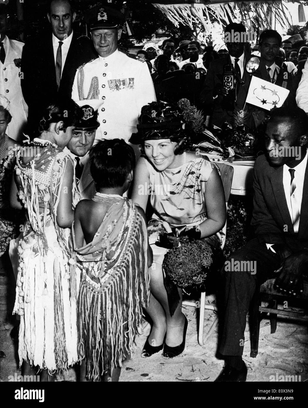 Princess Beatrix meeting children on her visit to Suriname - Stock Image