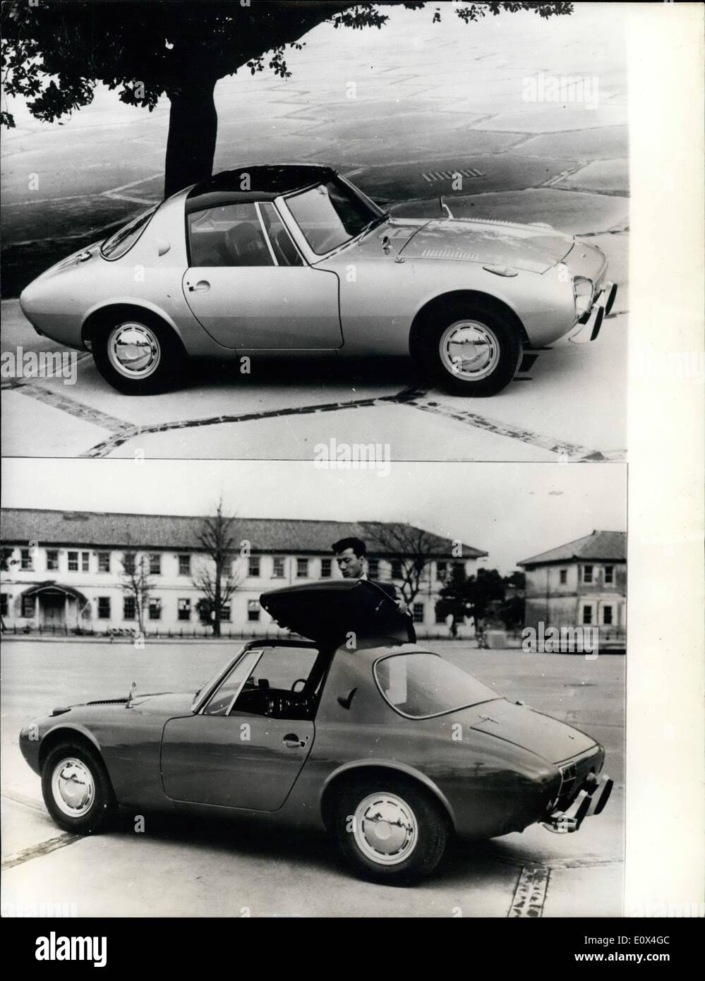 Apr. 04, 1965 - Introducing the new Japanese Sports Car... The Toyota Sports 800... The Toyota Sports Car - the 800 - goes on sale this week priced at 95... The car only weighs 580 kgs unladen - being made mainly of aluminium alloys. The car is 3,580 mm long and 1,465 mm wide - and is of frameless monocoque construction - and under strain the shell will not twist - shiver or shake. It has a model 2U air cooled, 2 cylinder engine of 790cc. with an output of 45 bhp at 5,400 rpm. Compression ratio is 9.0 - 1 - and twin carburretor has been fitted - Stock Image