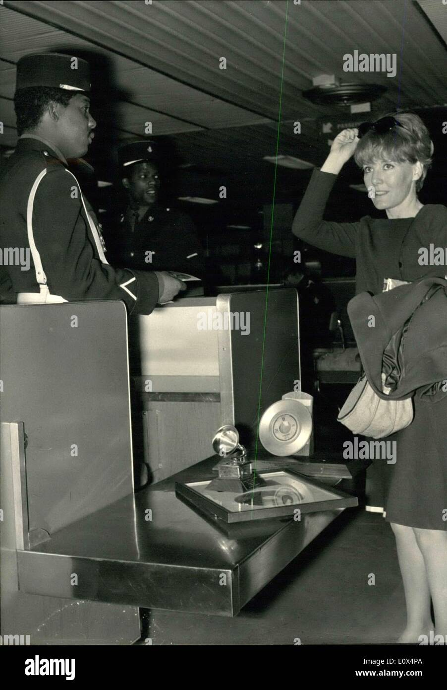 May 19, 1965 - Petula Clark back from America:Petula Clark pictured at Orly Airport as she was displaying her Trophies received - Stock Image