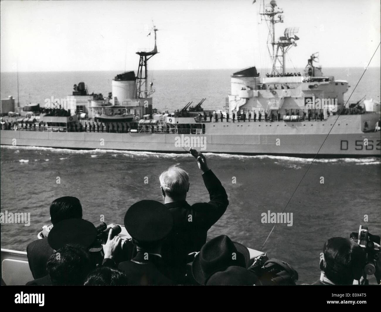 Apr. 04, 1965 - The Naval Manoeuvre At Gaeta The Italian President Giuseppe Saragat accompanied by Minister Anarsotti and by Members of General Staff was present at the Naval Manoeuvres of Italian Fleet in the Tirreno Sea near Gaeta, in the South of Italy. - Stock Image