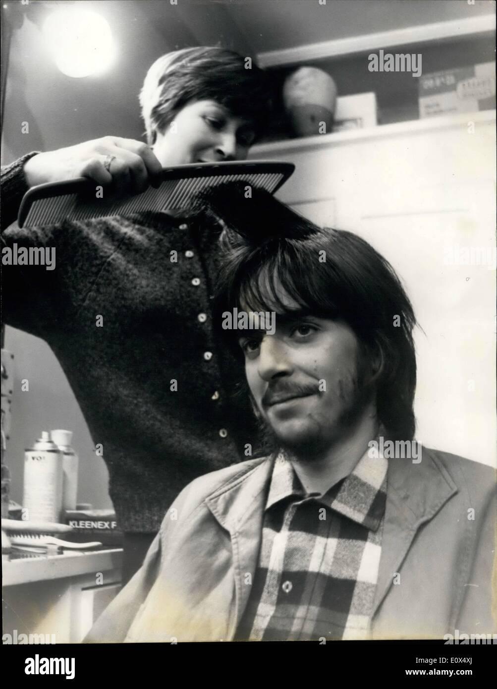 Apr. 04, 1965 - Michael Chaplin has a screen test hairdresser gets to worked: Eighteen year old Michael Chaplin Stock Photo