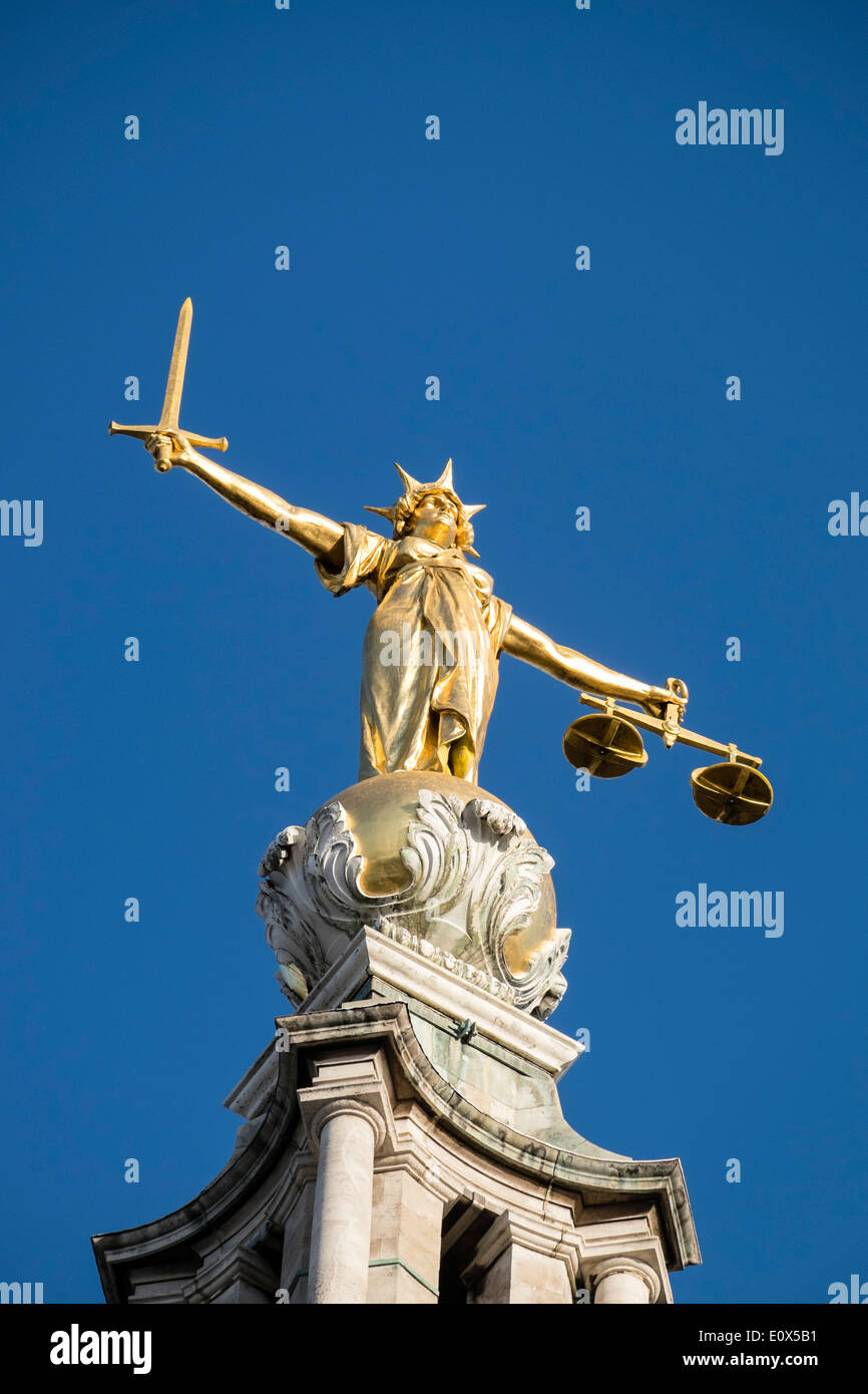 Statue of Lady Justice on the Old Bailey central criminal courts in London United Kingdom - Stock Image