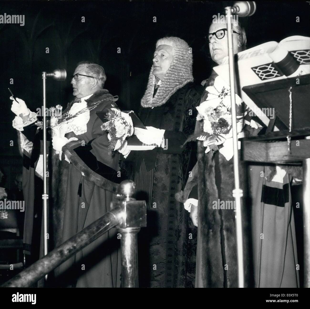 Jun. 06, 1965 - Election of Sheriffs.: The Livery men of the City of London assembled today in Common Hall to appoint among themselves two Sheriffs. Their were three candidates and a poll was demanded. Photo shows counting the vote (left to right) Alderman A. Trinder, Common Sergeant Mervyn Griffith Jones and Mrs. Arthur Ley. - Stock Image