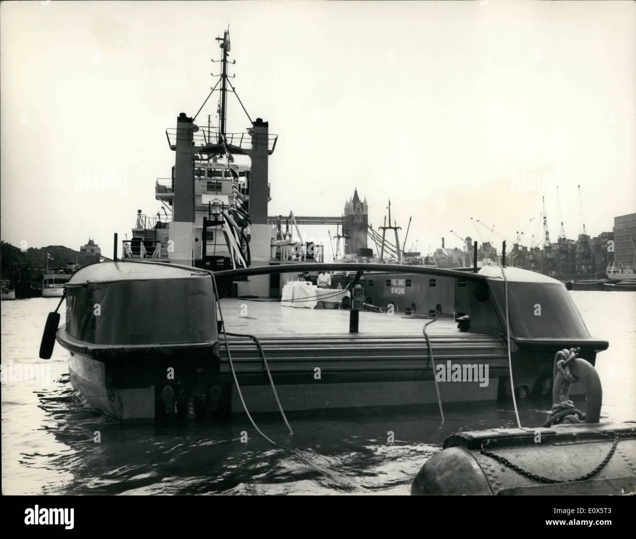 Jun. 06, 1965 - New Supply Vessel To Service North Sea Oil Rig: Continental Oil Company of England, the North Sea Stock Photo