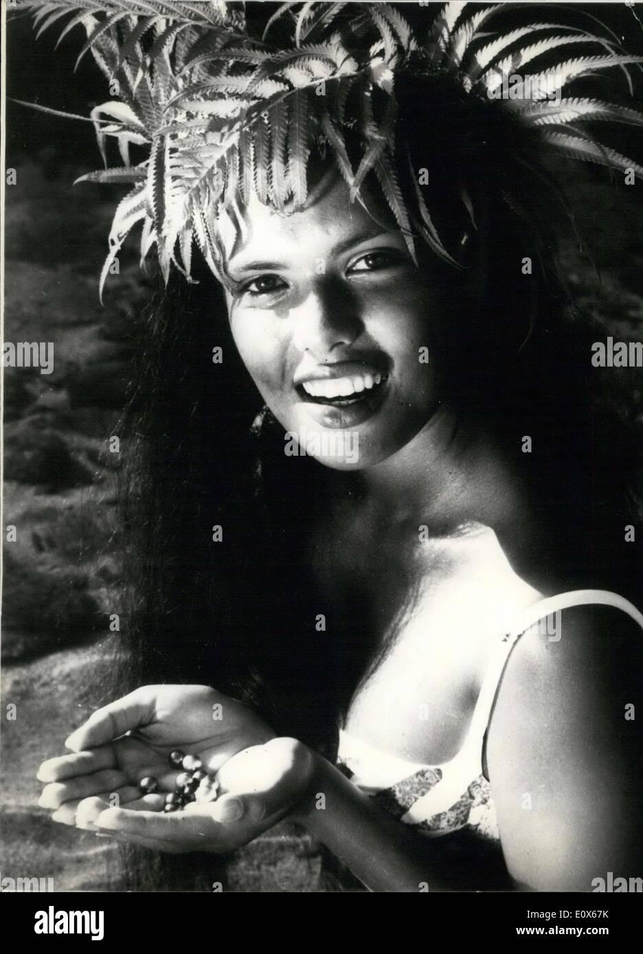 Jun. 22, 1965 - Tahitian Woman Holds Black, White, Pink Bora Bora Pearls - Stock Image