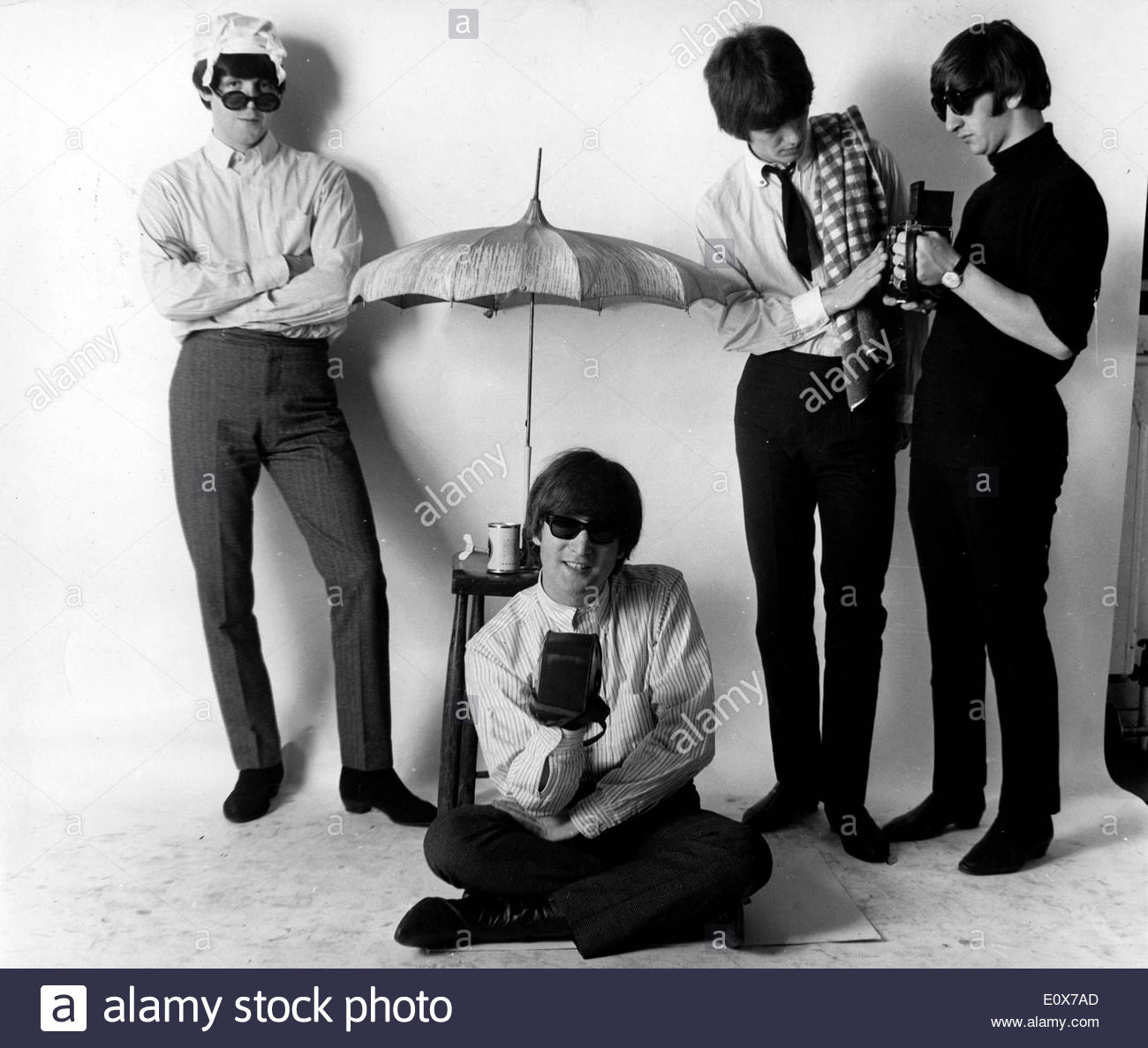 The Beatles during a summer themed photo shoot - Stock Image