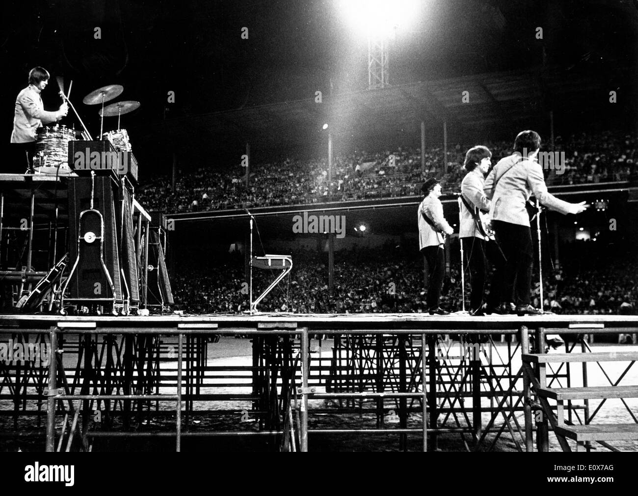 The Beatles perform at Shea Stadium Stock Photo