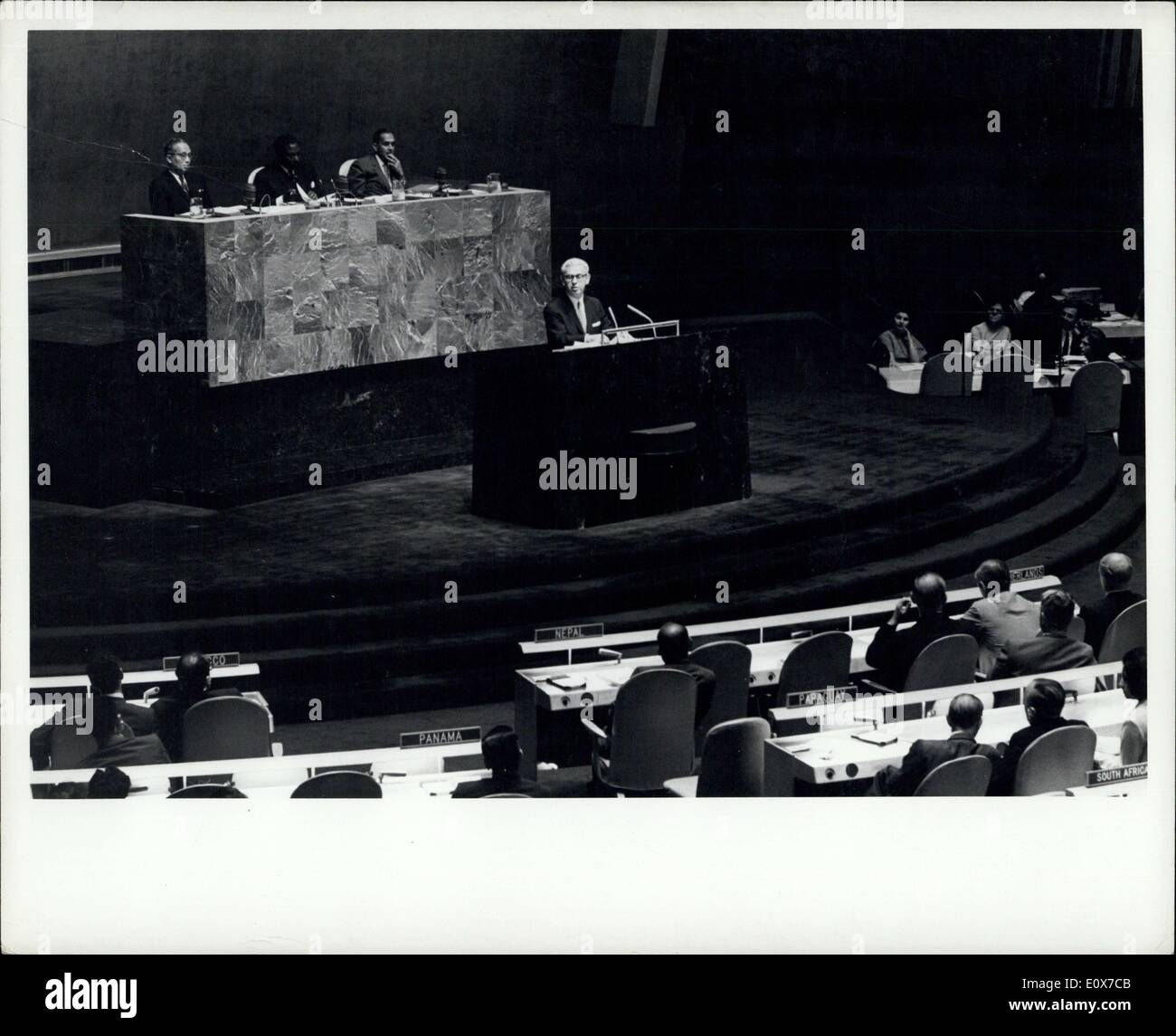 Sep. 01, 1965 - General Assembly Concludes Nineteenth Session: UN 90659, United Nations , New York, 1 September 1964. The General Assembly ended its ninettenth session this afternoon after adoption, without objection, the report of the Special Committee on peace- keeping Operations, which states as the consensus of the committee : (a) That the General Assembly will carry on its work normally in accordance with its rules of procedure ; (b) That the question of the applicability of Article 19 will not be raised with regard to the United Nations emergency force and the United Nations operation - Stock Image