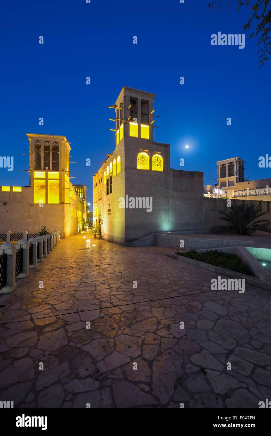 Historic Bastakiya old quarter at night in Dubai United Arab Emirates - Stock Image