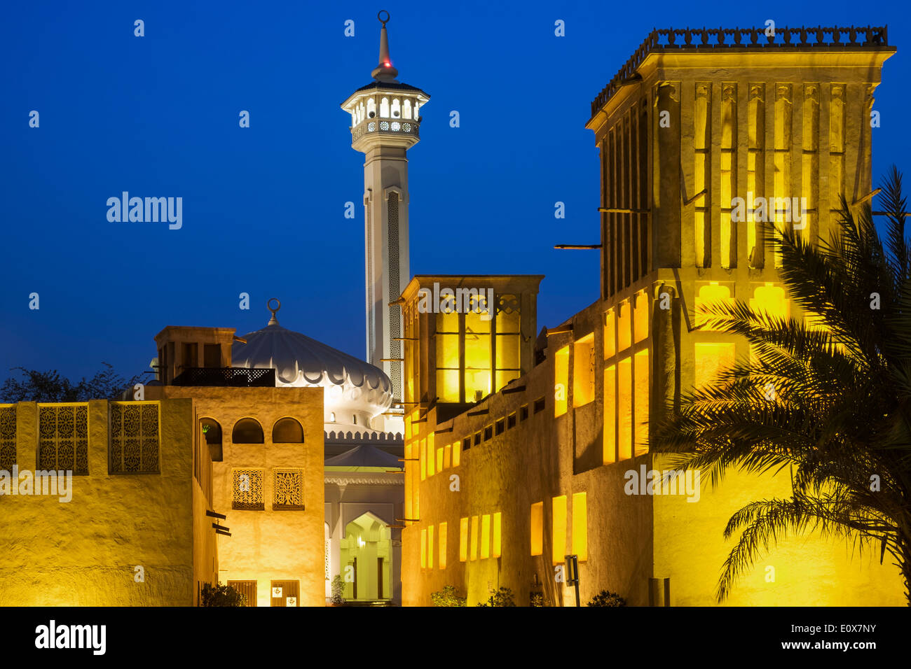 historic Bastakiya quarter at night in Dubai United Arab Emirates - Stock Image