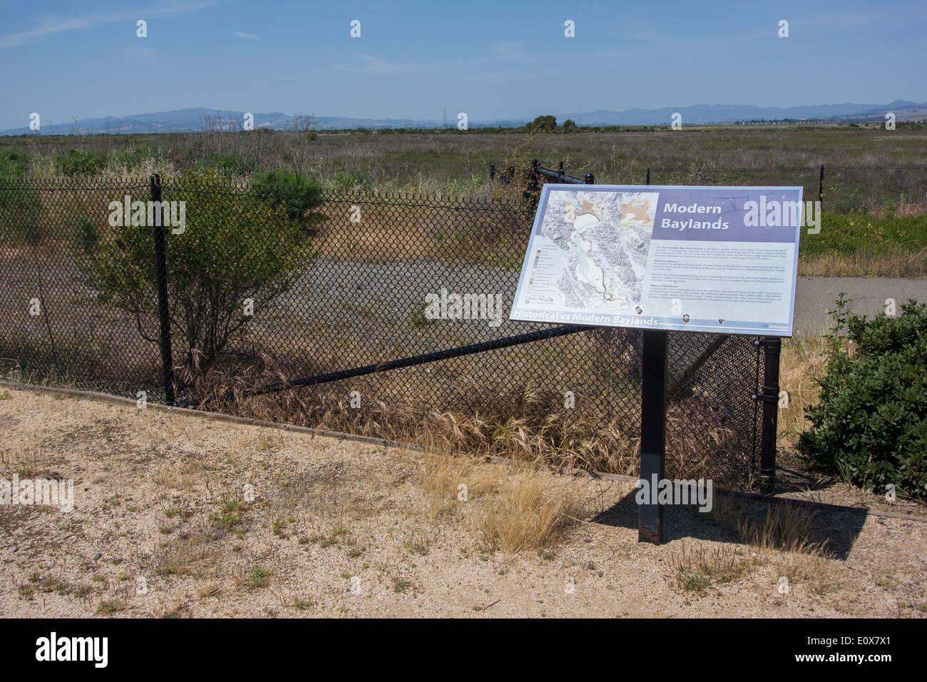 interpretive sign at the San Pablo Bay wildlife refuge, California - Stock Image