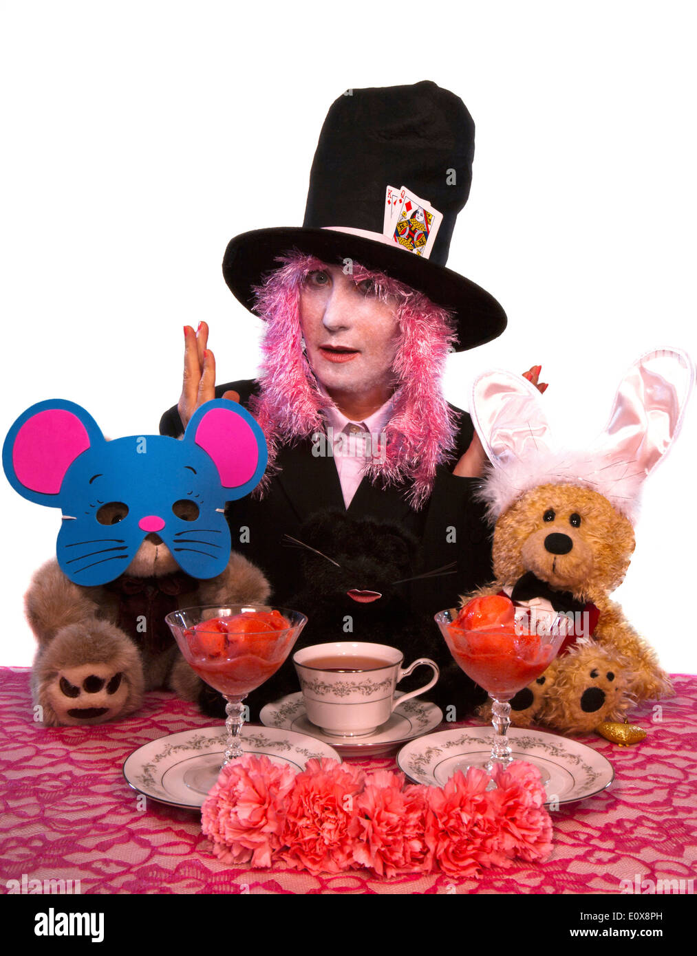 Alice In Wonderland Costume Party With The Characters Mad Hatter Stock Photo Alamy