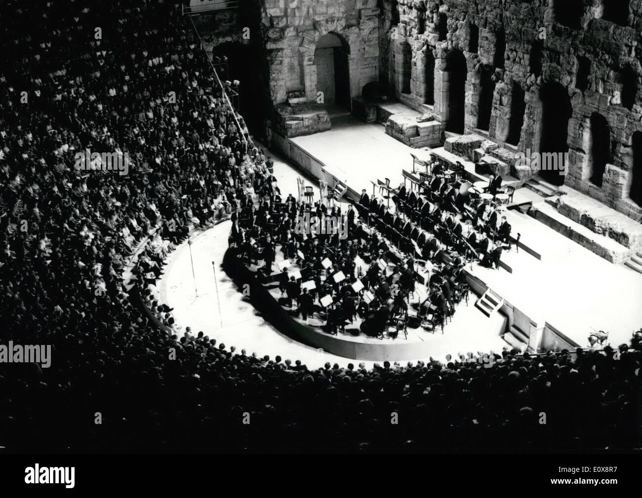 Sep. 09, 1965 - 8,000 people attended the concert last night, which was conducted by Herbert von Karajan for the Athens Festival. King Constantin, Queen Anna-Maria, and the princesses Irene, Sophie, and Benedikte (of Denmark) were applauded by a number of spectators. Pa - Stock Image