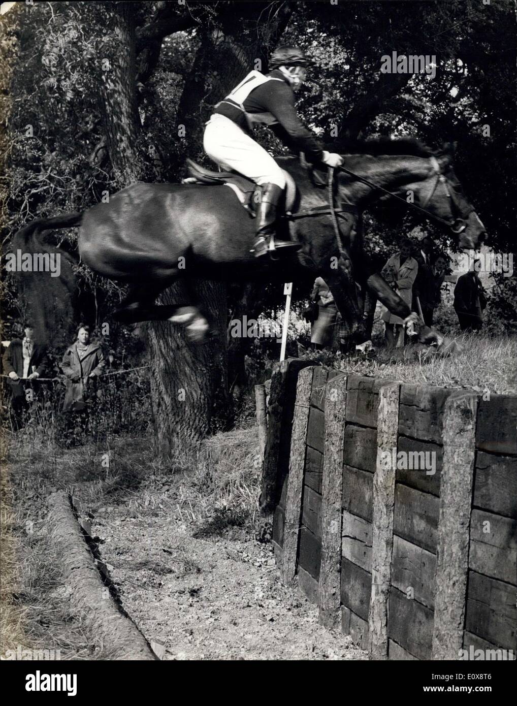 Sep. 10, 1965 - Burghley Three-Day Trials The Cross Country Event: Some of the finest horses and best riders in Britain were competing in the Three-Day Trials in the setting of Burghley Park, Lines., The Elizabethan home of the Marquess of Exeter. Yesterday. they were taking part in the Cross-Country event, negotiating 28 fixed fences over a four-mile course. Photo shows The Viking'' ridden by Mr, M. Tucker, seen taking the Sleeper Bank Jump during the Cross Country event. - Stock Image