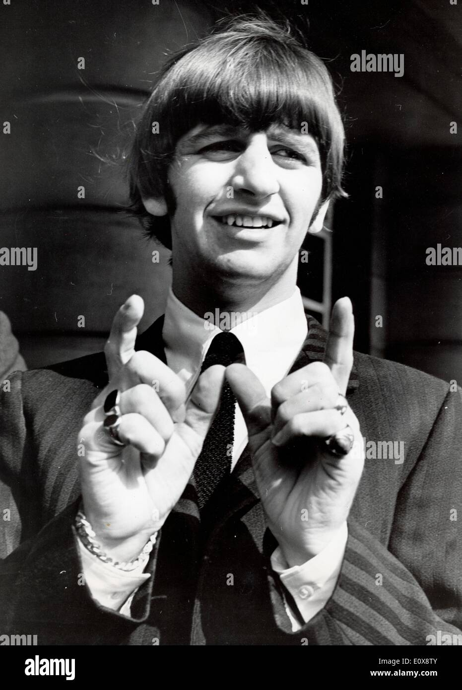 The Beatles Ringo Starr jokes about newborn son - Stock Image