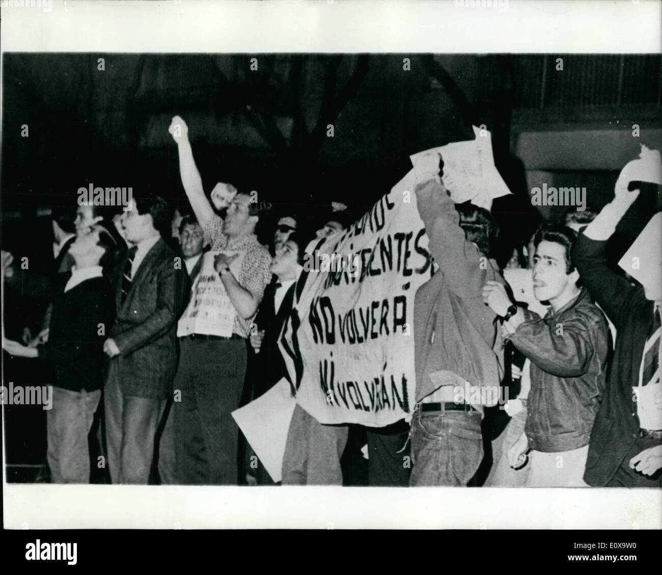 Oct. 10, 1965 - Demonstrations In Argentina: More than 600 people were arrested on Sunday night, as police fought with thousands of followers of exiled dictator, Juan Peron. A rally to mark the rise to power of Peron 20 years ago, was banned following rioting last week triggered by the visit of Peron's young wife, Isabel. Senora Peron, 32, arrived in Buenos Aires to campaign for her 70-year old husband's ''peaceful'' return by legal means'' from his exile in Madrid. She left the city on Friday for an unknown destination - Stock Image