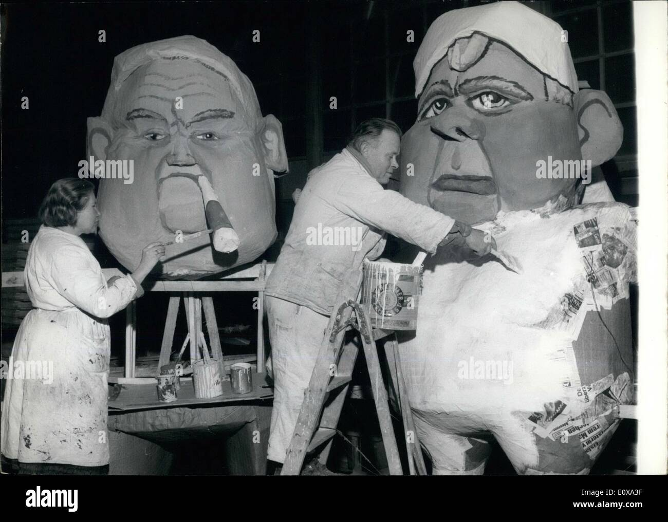 Jan. 01, 1966 - A satirical workshop: becomes a wod-firm in Wiesbaden - Erbenheim, when the well known painter - couple Waltrau - Stock Image