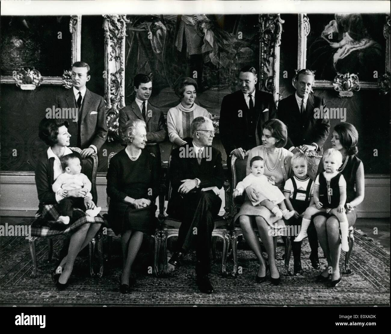 Jan. 01, 1966 - Swedish Princesses and their Husbands and Children Celebrate New Year with King Gustav Adolf: There was a family reunion in the Swedish Royal Family when Princess Sibylla, together with her daughters, their husbands and children were guests of King Gustav Adolf at Drottningholm Palace, outside Stockholm to celebrate the New Year. Photo shows The Family gathering (L. to R - Stock Image