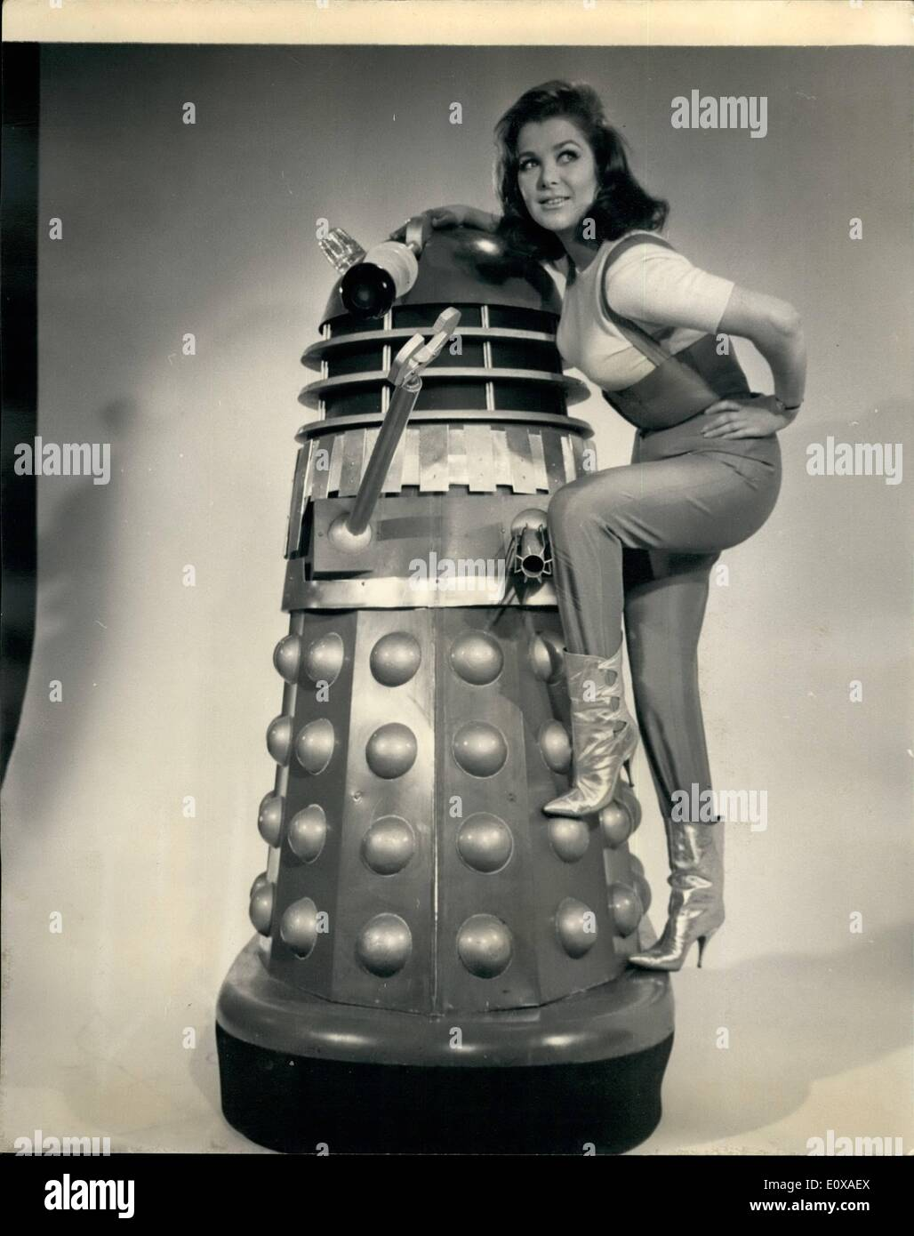 Jan. 01, 1966 - Jill's a Girl With A Future: 24-year old Jill Curzon has been chosen for the feminine lead in the new film about the Daleks which starts shooting at Shepperton Studios on January 31. It is entitled Daleks Invade Earth 2150 A.B., in which year most of the action takes place. Jill might be said to have a 200 year future. Peter Cushing will again Dr.Who on the big screen as he hid in ''Dr.Who and the Daleks'' and the new story will also be filmed in Technicolor and Techniscope. The executive producer is Joe Vegoda. The producers are Milton Subotsky and Max J.Rosenberg - Stock Image