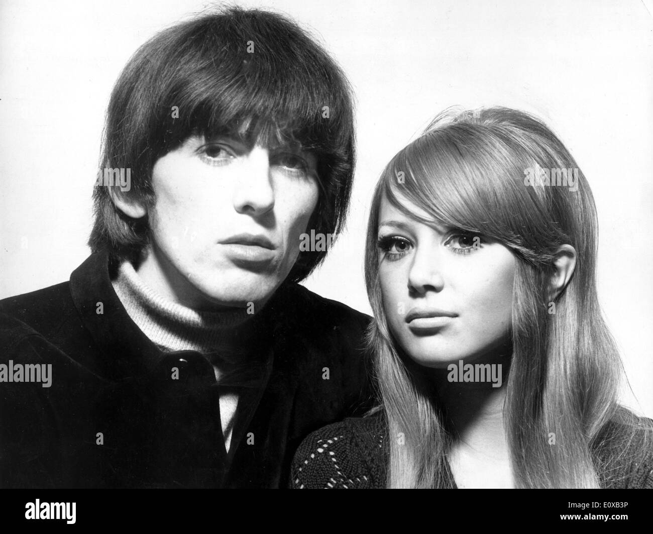 Portrait of Beatle George Harrison and wife Pattie Boyd - Stock Image