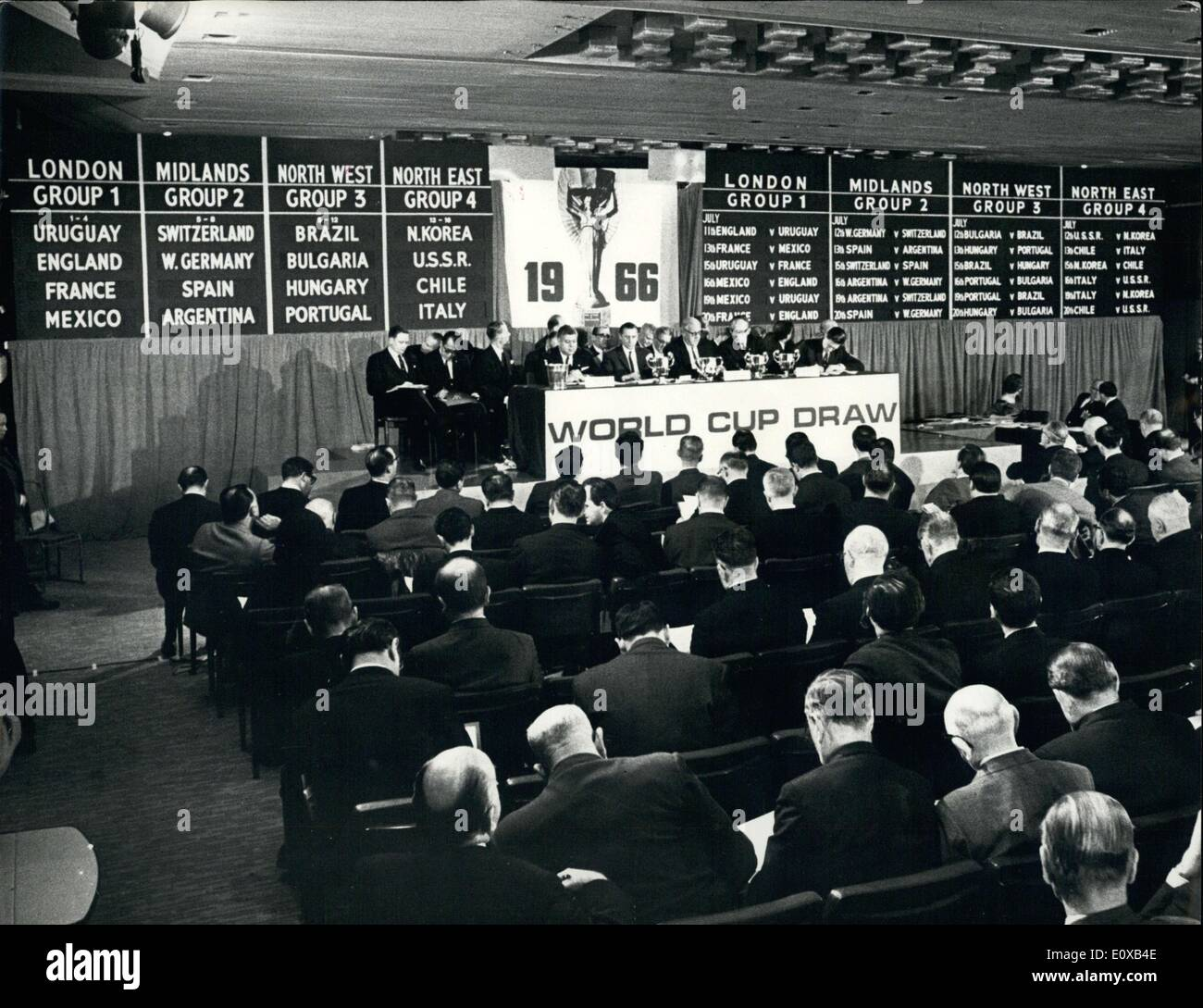 Jan. 07, 1966 - World Cup Soccer Draw - The draw for the World Cup soccer final rounds, to be played in England Stock Photo