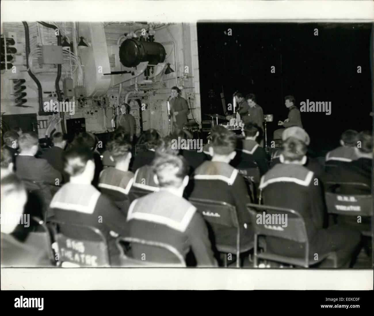 Mar. 03, 1966 - The Joy Strings Entertain the Navy: The Salvation Army pop group, the Joy Strings, yesterday entertained the navy,aboard the aircraft carrier, H.M.S. Centaur at Portsmouth . Photo Shows The Joy strings seen entertaining sailors aboard the aircraft carrier, Centaur at Portsmouth yesterday. - Stock Image