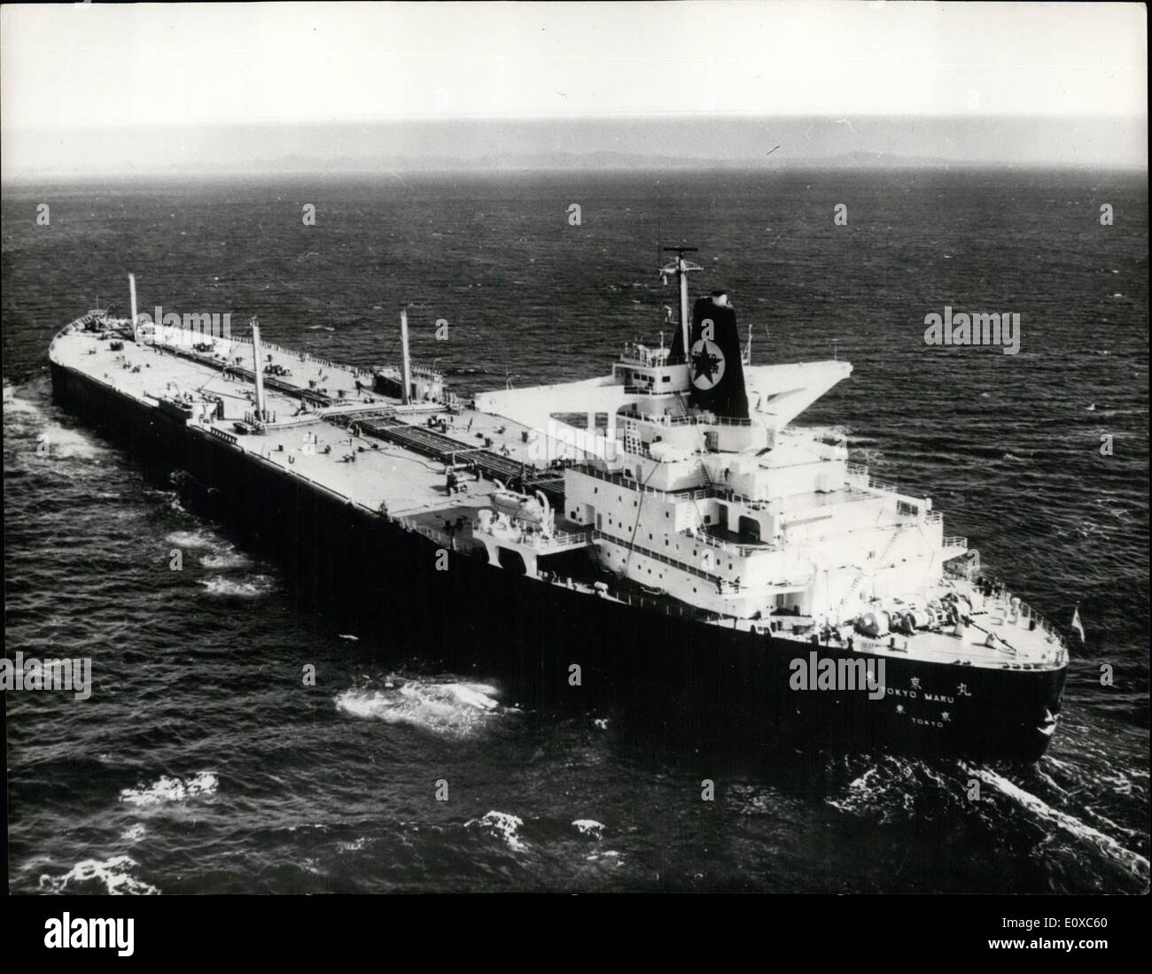 Feb. 02, 1966 - WORLD'S LARGEST SHIP SAILS: The 150,000-ton ''Tokyo Maru'', the world's largest tanker, is shown leaving Yokohama, Japan, on her maiden voyage to Saudi Arabia to load with crude oil. The huge ship, 306.5 metres long, 47.5 metres wife, and 24 metres deep, has a top speed of 16.75 knots with a full cargo of petroleum. The ship was launched on November 27th, 1965, and completed on February 1, 1966. The owners are the Tokyo Tanker Co. and it was built by the Ishikawajima-Harima Heavy Industries at their Yokohama shipyard. - Stock Image