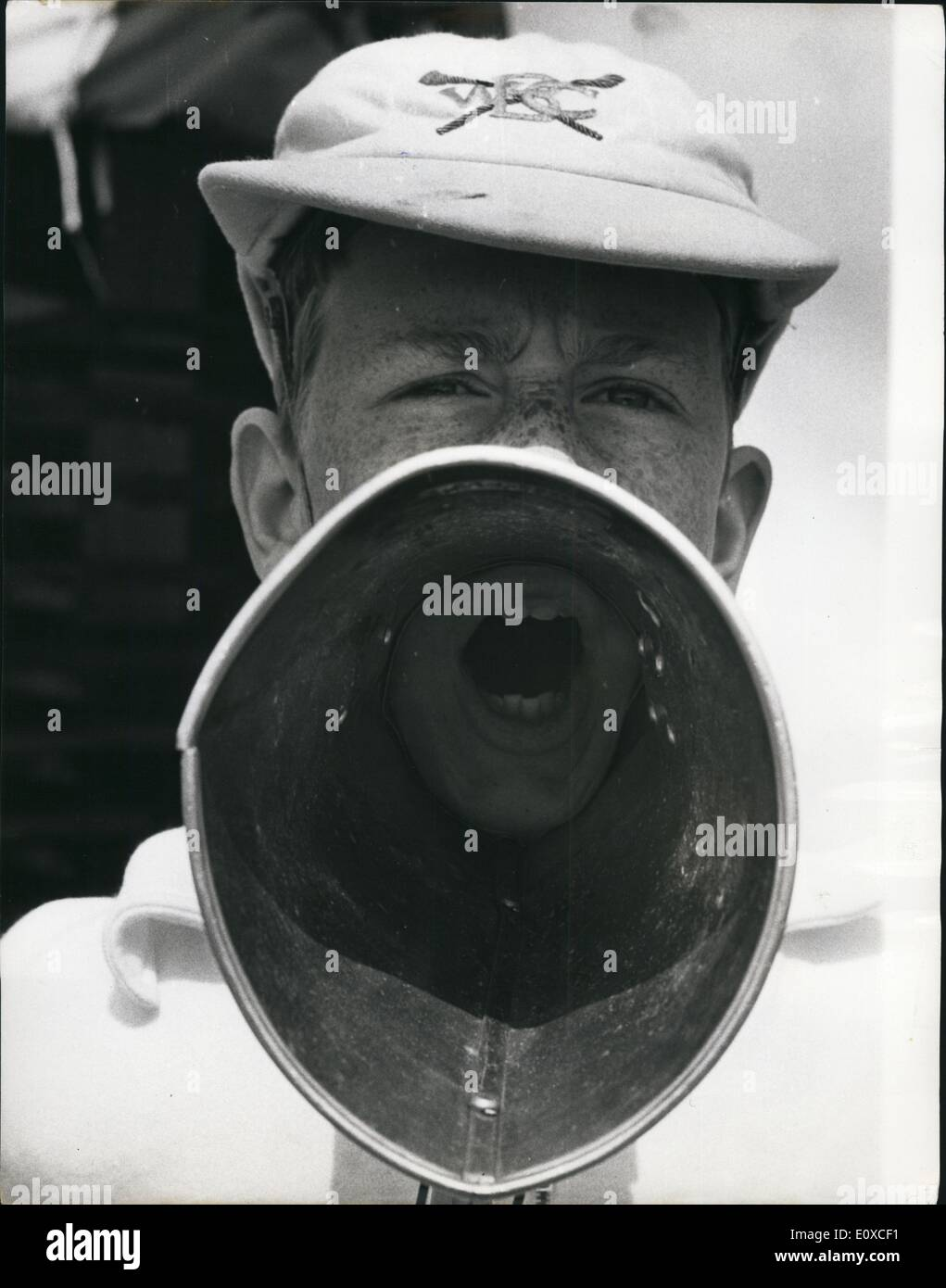 Jun. 06, 1966 - The Stroke's Eye-View Of The Cox: Unusual view - the one the stroke gets - of Mark Stanford, who coxed the Wycliffe college, beat ( to defeat unfortunately), at the Henley royal Regatta, which began yesterday. - Stock Image