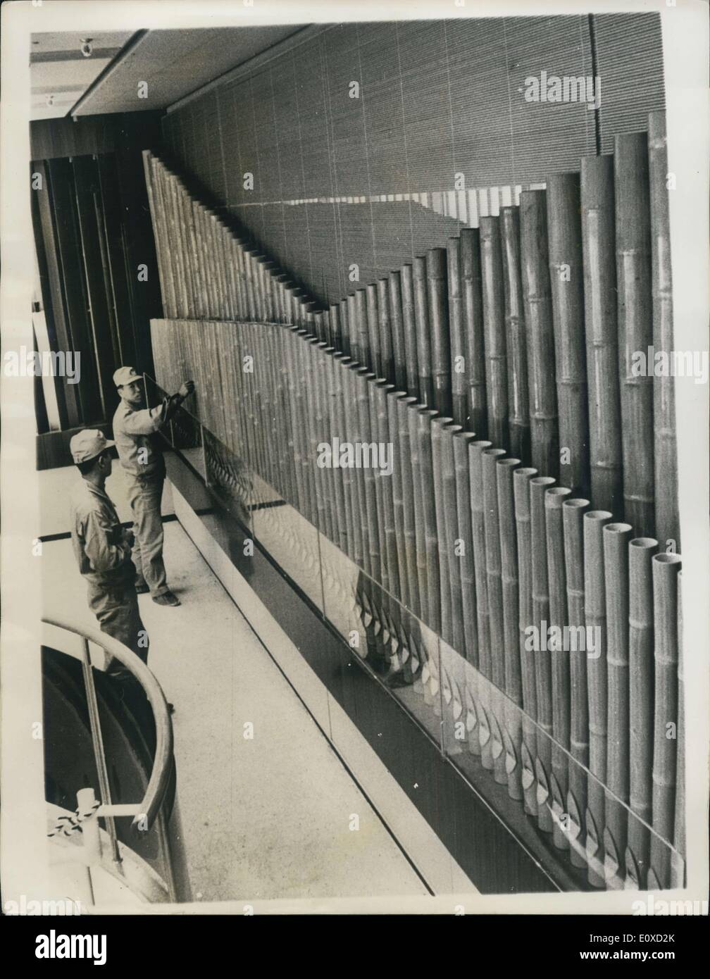 Apr. 25, 1966 - Pipe Organ made of Bamboos: The world's first bamboo pipe organ appeared recently at Sony building Stock Photo
