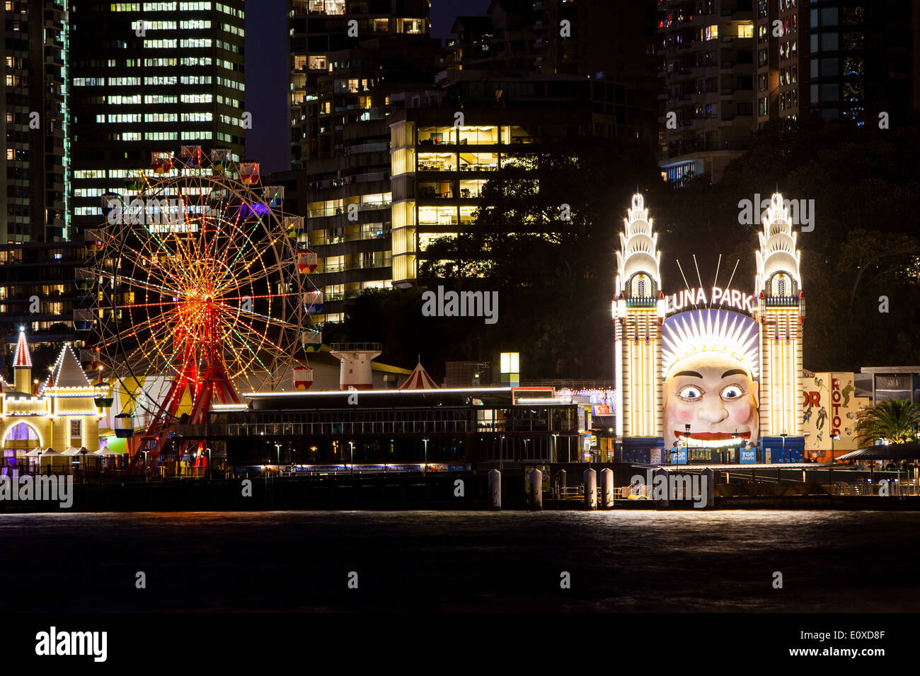 Luna Park on a clear autumn evening in Sydney, Australia - Stock Image