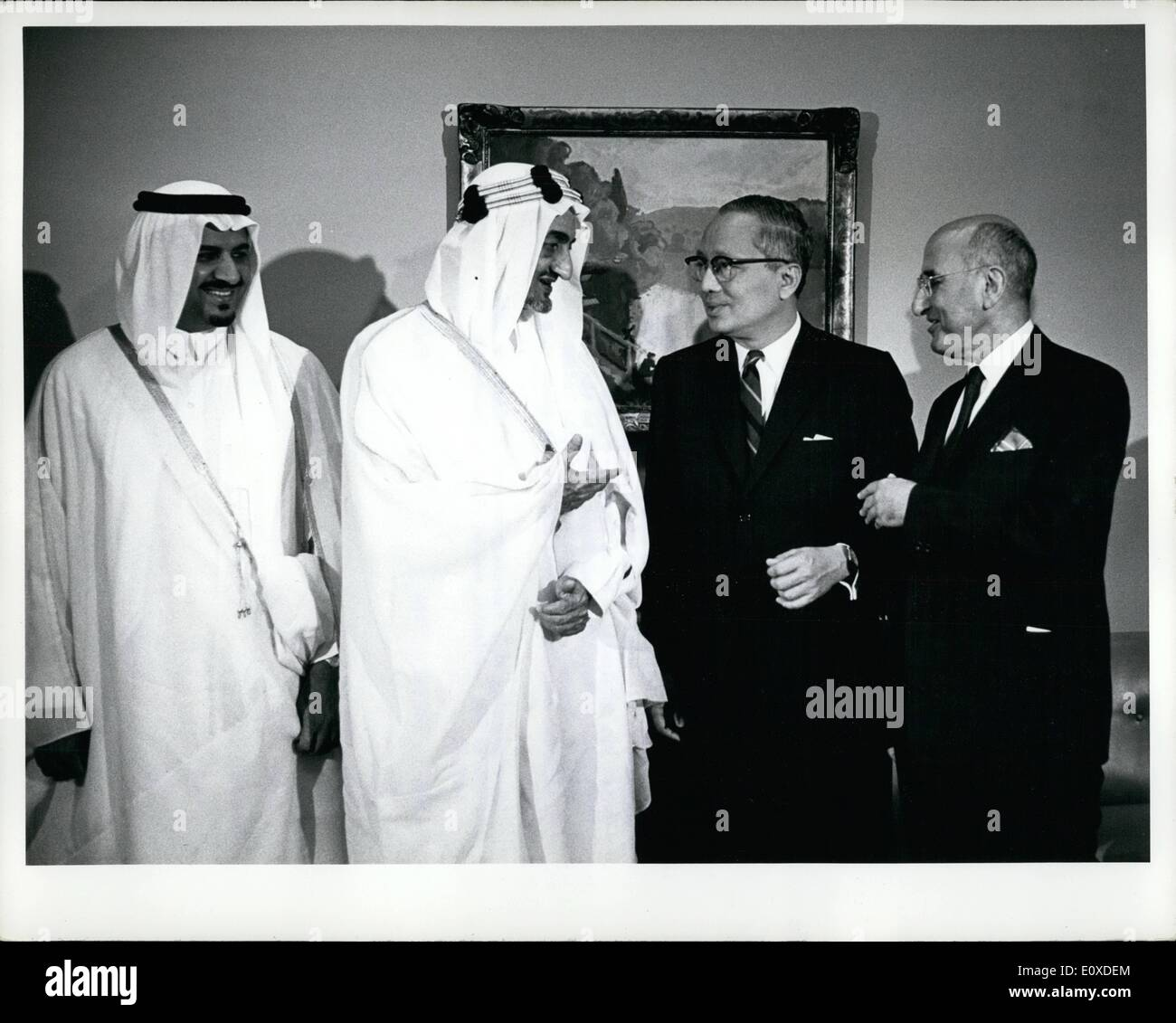 Jun. 06, 1966 - His majesty Faisal Bin Abdulaziz visits UN headquarters: His majesty Faisal Bin Abdulaziz, King of Saudi Arabia, paid an official visit to United Nations Headquarters today. He was accompanied in his visit by the Minister of Defence, Prince Sultan Bin Abdulaziz; a Royal Counsellor; and the Deputy Permanent Representative of Saudi Arabia to the United Nations, Jamil M. Baroody, During his visit, King Faisal conferred with the Secretary-General and was his guest at a luncheon. King Faisal conversing with Secretary-Genral U Thant - Stock Image