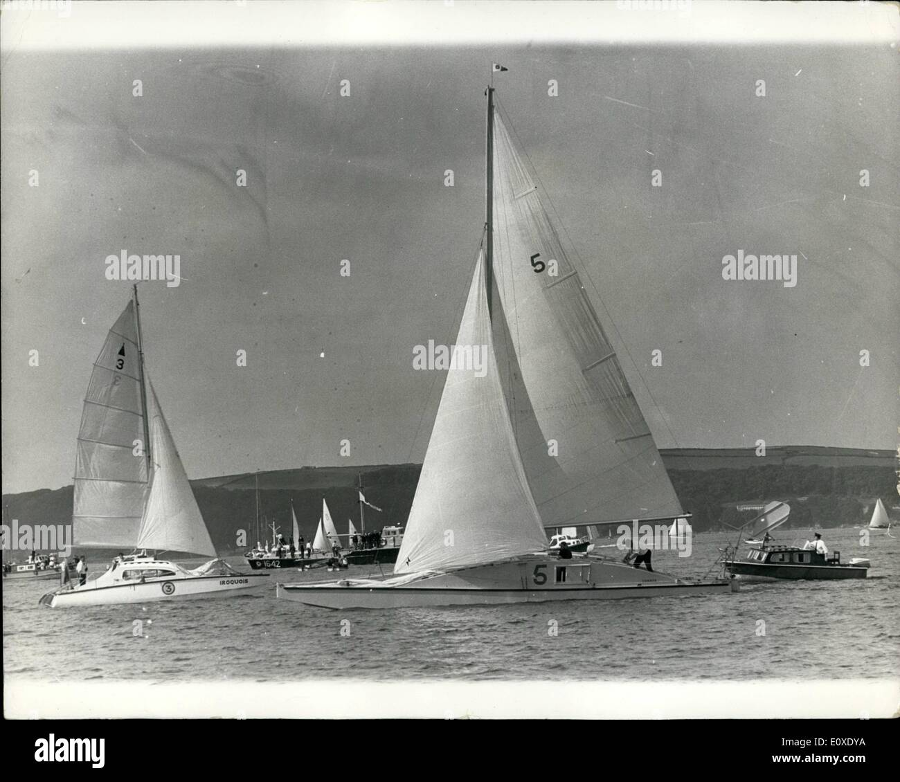 Jul. 03, 1966 - 3-7-66 The first two handed round-Britain sailing race. Competitors set off from Plymouth. Out from Stock Photo