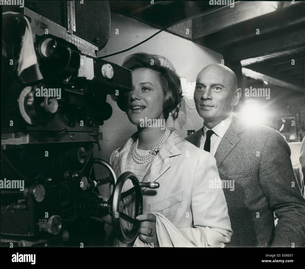 Jul. 07, 1966 - Princess Muna Visits Elstree Studios : H.R.H. Princess Muna of Jordan yesterday paid a visit to Associated British Productions at Elstree Studios and was taken on a conducted tour of various departments. At a lunch time reception, she was introduced to the stars working at Elstree Yul Brynner and Britt Ekland from the Warner Bros.production ''The Double Man''; Roger Moore, from ''The Saint'' TV Series and Steve Forrest and Sue Lloyd from ''The Baron'' TV Series. After lunch, the Princess visited the sets and renewed acquaintance with the stars she met at lunch - Stock Image
