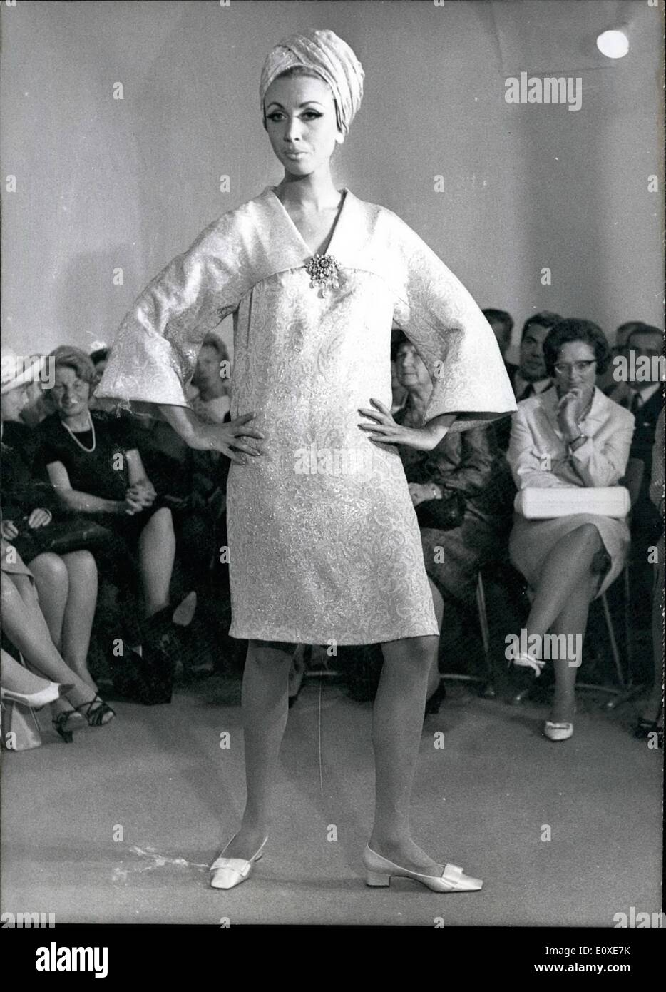 Jul. 07, 1966 - Fall and Winter Fashion 1966/1967. The German Master School for fashion showed their collection for the fall and winter 1966/1967 on July 6, 1966. It was created by famous couturier Winfried Knoll. Pictured:The mock-up ''Mont Blanc'' - A cocktail dress made - Stock Image
