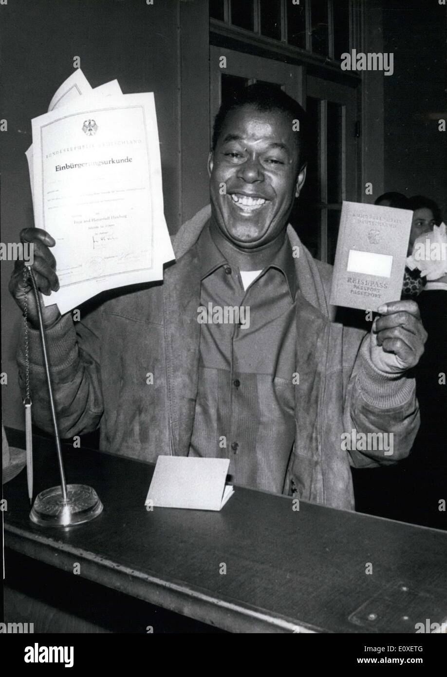 Jul. 12, 1966 - Billy Mo has waited ten years for this moment. On this day he received his certificate of naturalization at the - Stock Image