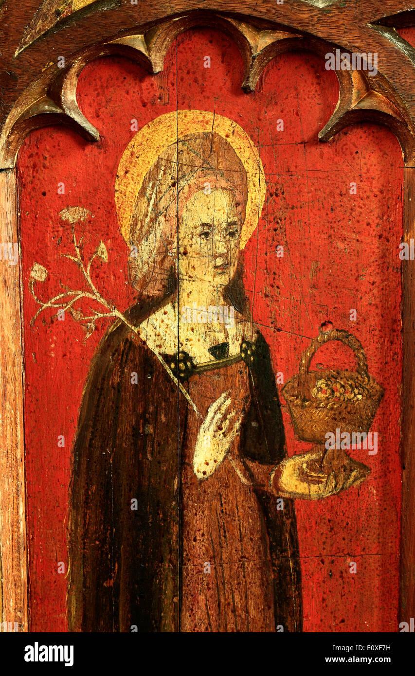 St. Dorothy, English medieval rood screen painting, c. 1500 North Tuddenham, Norfolk, England UK Saint Dorothea of Caesarea - Stock Image