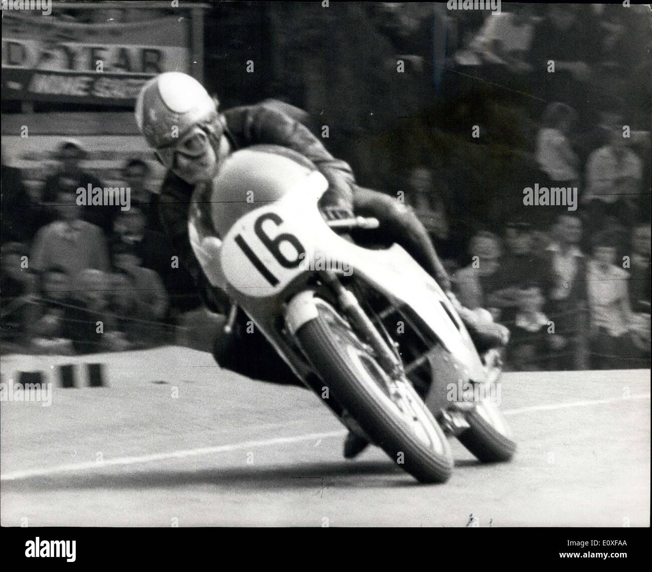 Aug. 31, 1966 - Eighth T.T.Victory for mike Hailwood : Mike Hailwood won the lightweight 250 c.c., T.T. Motorcycle Stock Photo