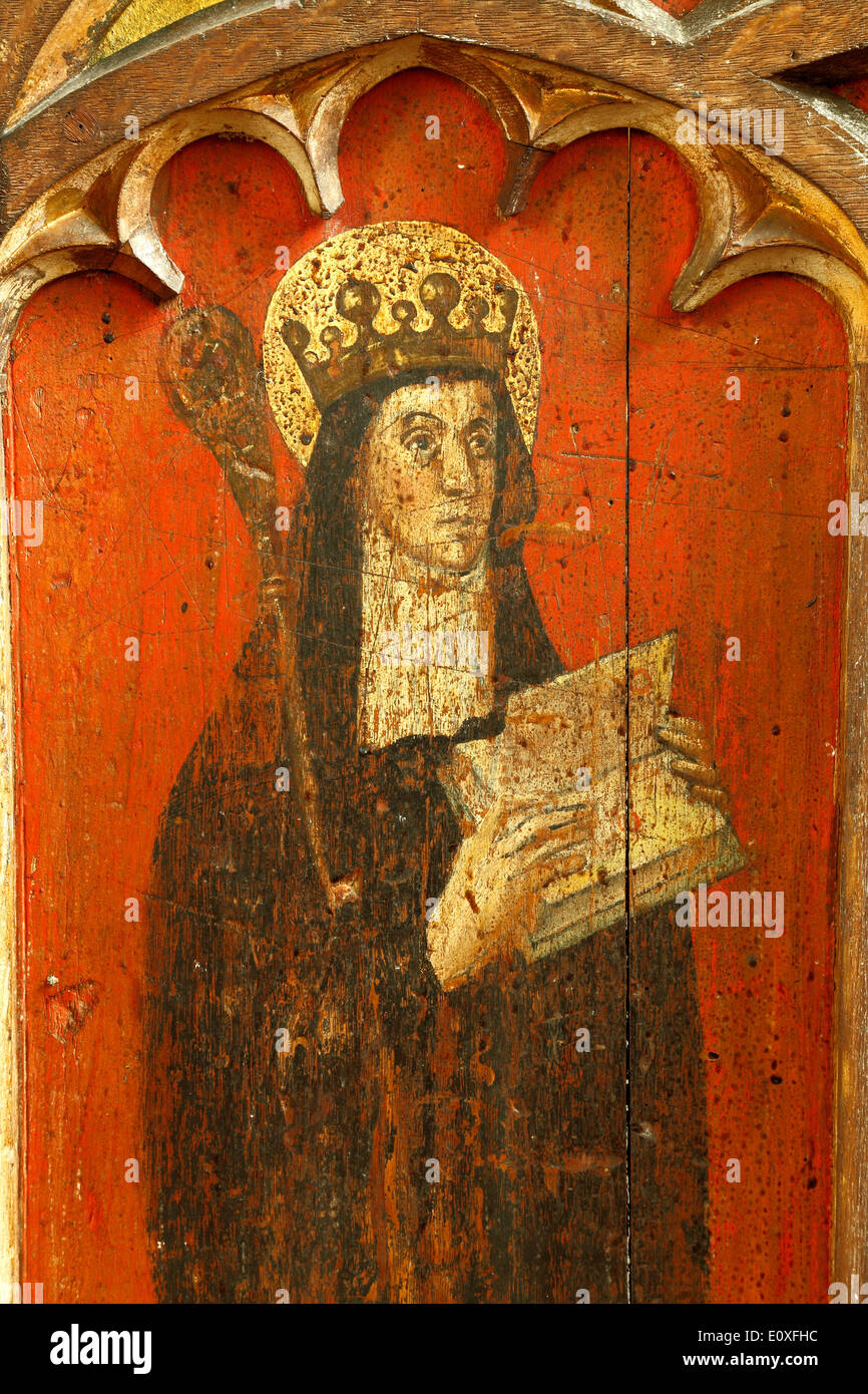 St. Etheldreda, medieval rood screen painting, c.1500, North Tuddenham, Norfolk. Saint, Abbess, Queen of East Anglia Stock Photo