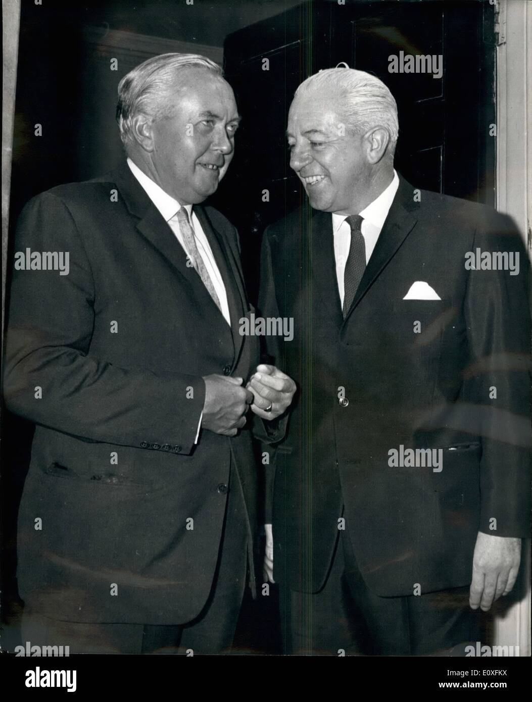 Sep. 09, 1966 - Australia's Prime Minister calls on Mr. Wilson at No. 10. : Mr Harold Holt, the Prime Minister of Australia, called on Mr. Wilson at No.10. Downing Street this morning, before the British Prime Minister left for Blackpool to speak at the Trades Union Congress. Photo shows Mr. Wilson says goodbye to Mr. Harold Holt (right) after their talks this morning. - Stock Image
