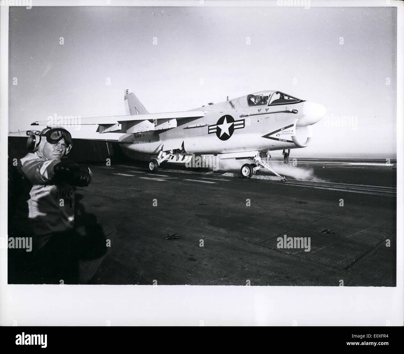 Nov. 11, 1966 - A 7A Corsair II is catapulted from the USS America (CVA-66) during flight operations. - Stock Image