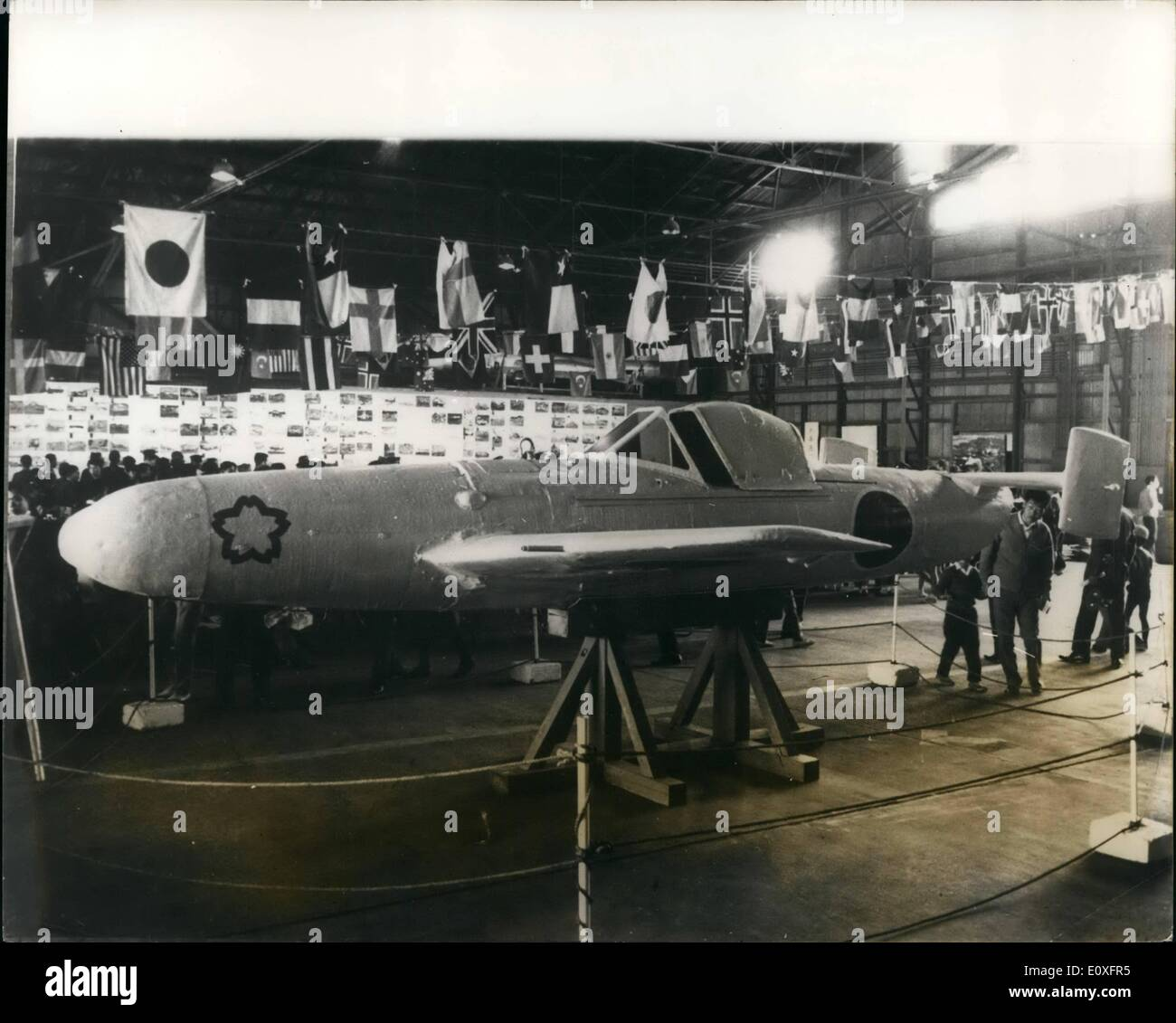 Nov. 11, 1966 - Japanese ''Human Bomb'' Displayed: An ''Oka'' ( cherry blossom ) Kamikaze glider bomb, used by the Japanese Navy during the Pacific War Tokyo, during the Japan Aeronautic Association Air Show The ''human bomb'' was carried to its target suspended beneath a bomber and released, to be guided onto its target by a suicide pilot seated in its cookpit. After trials in 1944, 800 were produced, but only eight attacks were made with them. After the war ended 50 of them were found undamaged. The Kamikaze human bombs were 5 metres wide, 6.06 meter long, and weighed 2.3 tons including 1 - Stock Image