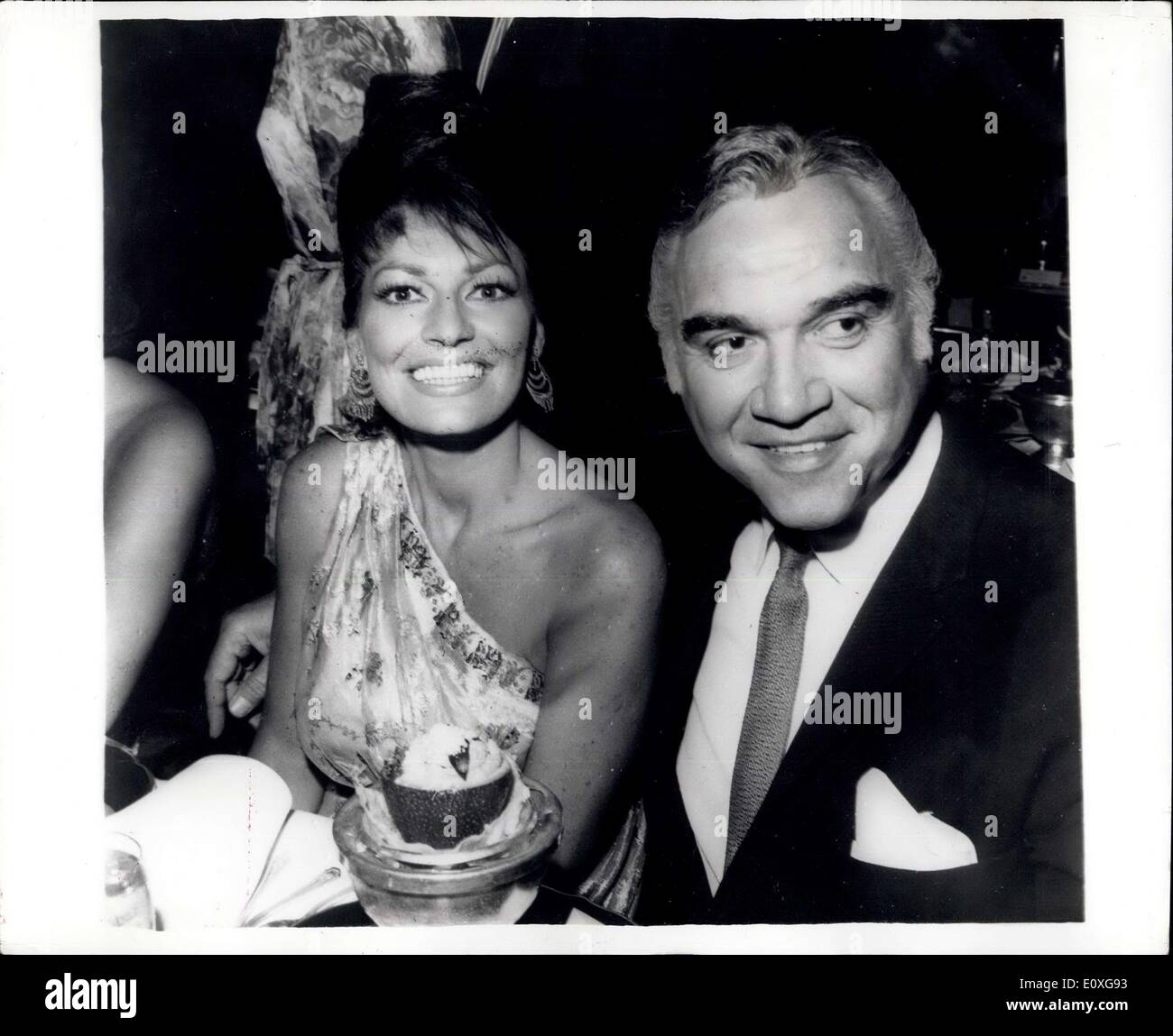 Nov. 13, 1966 - ''Bonanza'' Star and his wife Dine out: Lorne Greene popular star of the T.V.Bonanza series and his wife Nancy seen as they dined out at the famous Hollywood Supper Club the Cocoanut Grove. Greene, a former newscaster at a Canadian Station before turning actor has become one of the wealthiest actors in Hollywood by reason of his TV series which is shown in over 25 countries. - Stock Image