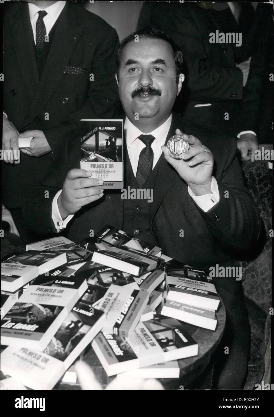 Oct. 10, 1966 - Best spy Novel of the year: The Annual award of the ''Palmes D'Or'' (Golden Palm) for the best spy novel of the - Stock Image
